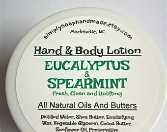Lotion,Eucalyptus and Spearmint Lotion,Shea Butter Lotion,Cocoa Butter Lotion,Hand Lotion,Body Lotion,Natural Lotion,Spearmint Lotion