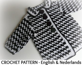English + Dutch Crochet Pattern Baby Winter Coat Pepita  0-24 months