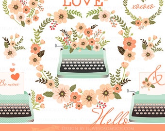 Love Story Mint and Peach Clip Art / Mint Typewriter - Instant Download - CA114