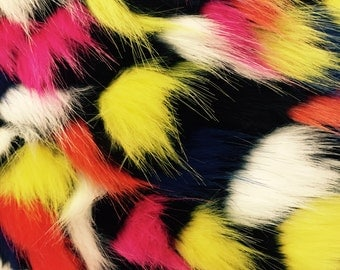 Luxurious multicolor faux fabric yellow black. Sold By The Yard