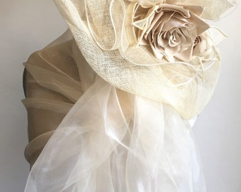 Synthetic ivory-white organza stole ideal married wedding ceremony