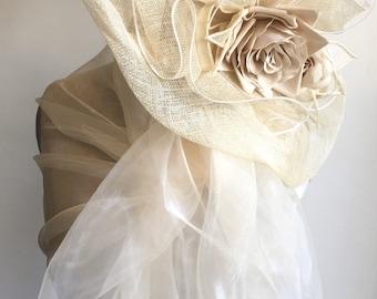 White-off wrap shawl for bride, white stole, white organza wrap, baptism shawl
