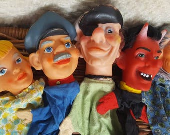 6 Vintage 60's German Hand Puppets from Kasperle DDR theater