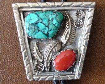 Native American Navajo Sterling Silver Turquoise Coral Bolo Tie