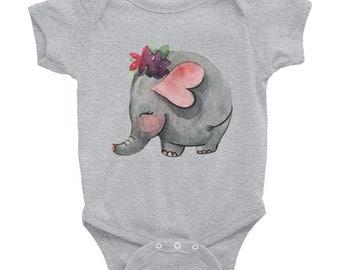 Baby elephant - Baby Onesie Bodysuit, American Apparel Infant Baby Rib Short Sleeve One-Piece