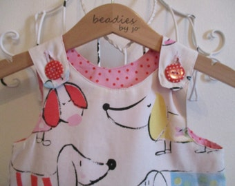 Reversible Dress, girls pinafore, Dog Lover, polka dot, retro style, shift dress, 2 in 1, chintzy, funky,  Sausage Dog, Dachshund,