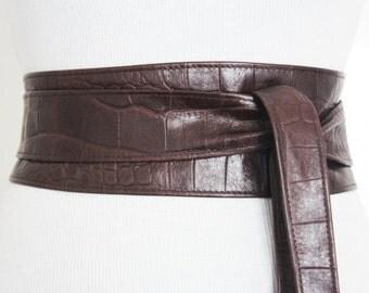 Brown Croc effect Obi Belt Leather Croc finish    Leather corset belt   Real Brown Leather Belt  waist Belt   Petit to Plus Size