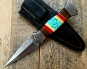 HTS-401 Custom Handmade Damascus steel BOOT Knife/ Dagger Knife / Turquoise Bone + Walnut + Camel Bone Handle / EXCLUSIVE / HomeTown Knives