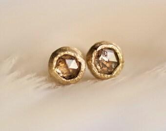 Chakri Polki Diamond Earrings. Diamond Stud Earrings. Diamond Studs. Rose Cut Diamond Earrings. Tiny Diamond Stud Earrings.