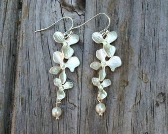 Long Floral Orchid Pearl Earrings, Bridesmaid Earrings, Vine Earrings, Wedding Earrings, Bridal gift, Wedding Gift, Pearl Earrings, Drop