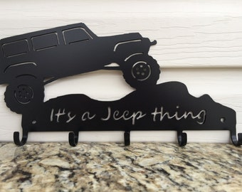 "4-Door Jeep key holder, black powder coat - ""It's a Jeep thing"""