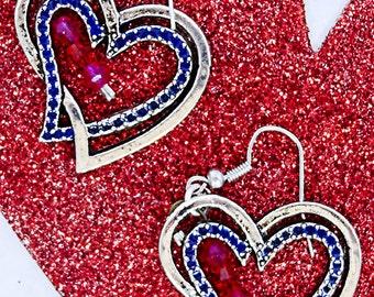 SILVER HEART EARRING, heart jewelry, red crystals, Swarovski red crystal, Valentine earrings, Valentine jewelry, dangle earrings - 0626HO