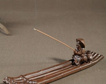 Ceramic Incense Holder A Old Man Fishing incense burner