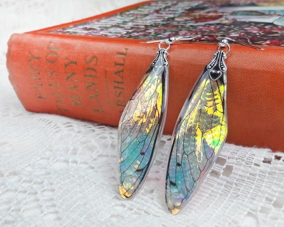 Fairy Wing Earrings Iridescent Wings Fantasy Jewelry