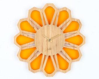 Bamboo Retro Sunburst Wall Clock  - 70s Floral Orange