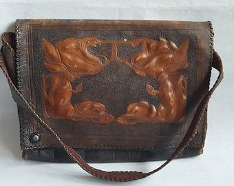 Original Vintage Art Nouveau Leather Satchel Bag Messenger style Original Authentic Antique Leather bag