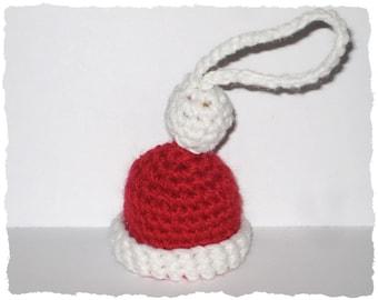 Mini Santa Claus hat crochet pattern, Christmas tree ornament tutorial, Very easy crochet pattern