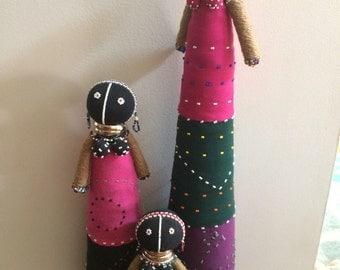 African Decorative Dolls - Set of 3 - Beaded Dolls