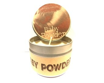 Baby Powder  4 ounce soy tin candle - take it anywhere! Apx 30 Hour Burn Time