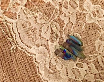 5 point rainbow quartz necklace