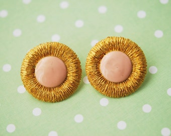 1960s Baby Pink and Gold Tone Earrings Vintage Jewellery Costume Jewelry