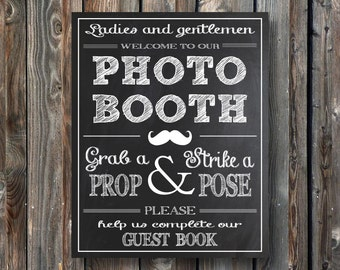 PRINTABLE Wedding Photo Booth Sign–Wedding Guestbook Sign-Printable Guest Book Sign–Chalkboard Sign-Photo Booth Sign–Instant Download