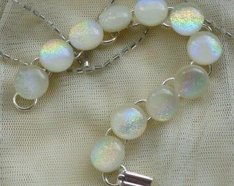Fused Glass Cream Bracelet.  Dichroic Glass Bracelet. Cream Link Bracelet