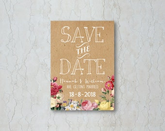 Floral Kraft Save the Date Card or Magnet