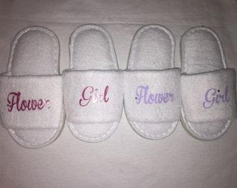 flower girl slippers, bridesmaid slippers, wedding slippers, spa slipper, personalised slippers, bridesmaid gift , flower girl gift,