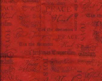 New Christmas Wishes on Red 100% cotton fabric by the Fat Quarter