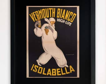 "LARGE 20""x16"" FRAMED Advertising Print, Black or White Frame/Mount, Vermouth Bianco Drinks Advert"