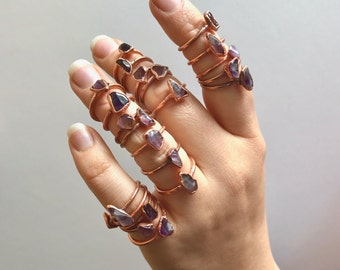 Amethyst and Copper Electroformed Rings /// Raw Stone Ring /// Inner Peace Stone Ring /// Boho Jewelry