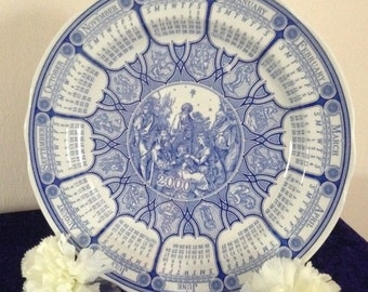 Spode 'Blue Room' Calendar plate for the year 2000
