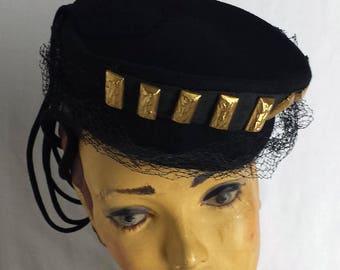 Perching 1940's New York Creations Tilt  Hat Black Felt Gold Textured Bars  .  WW2 Fashion  . Lindy Hop Hat . Wartime Glamour .