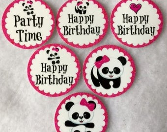 Set of 50/100/150/200 Personalized Panda Bear Birthday Party 1 Inch Confetti Circles