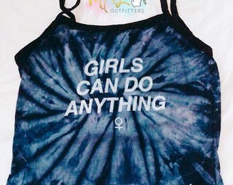 Blue Tie Dye GIRLS can do ANYTHING Ladies Spaghetti Ringer Crop Tank Top