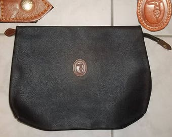 1980s vintage TRUSSARDI nécessaire mens toiletry bag black canvas approx 12x9 inches clean neat presentable collectible