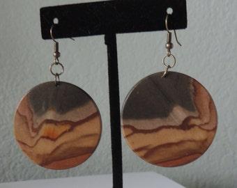 Picture Jasper Disc Earrings, Jasper Earrings,  Disc Earrings,