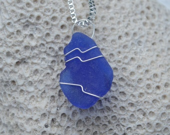 Genuine Cobalt Blue Sea Glass Wire Wrapped Pendant and Sterling Silver Necklace