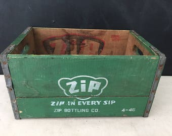 Zip Soda Wood Crate - Vintage Wooden Soda Crate - Pop Wood Crate - Soft Drink Crate - Green Beverage Crate - Display Wood Crate - Home Decor