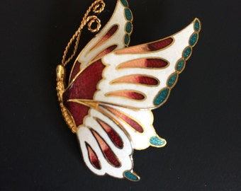 Vintage French Cloisonne Enamel Layered Butterfly Brooch with Coloured Accents & Gold Trim