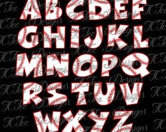 Baseball Alphabet - Baseball Letter Set SVG Design Download - Vector Cut File