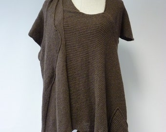 Special price. Brown asymmetrical blouse, L size.