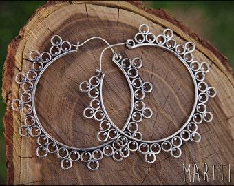 Big silver Earrings. Hoop Earrings Ethnic Style. Tribal Jewelry. Boho.