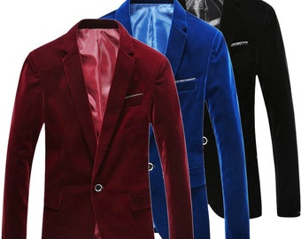Luxury Mens Red/Blue/Black VELVET BLAZER JACKET Smart Slim Fit One Button Suit Coat
