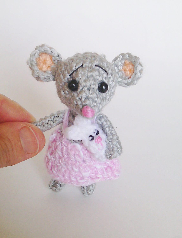 Amigurumi mouse grey pinkminiature mouseballerina mousetiny