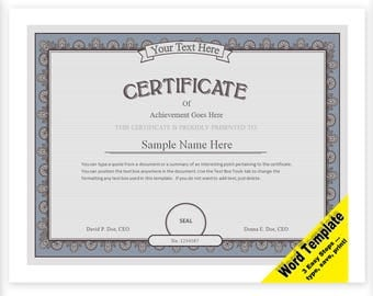 CERTIFICATE Editable Word Template, Printable, Instant Download YOU EDIT Word Template Diy Certificate Templates, Awards Diploma Achievement