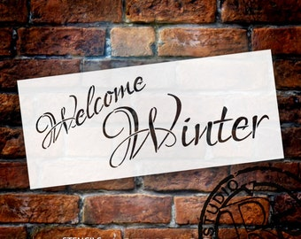"Welcome Winter - Word Stencil - 14""X6"" - SKU:STCL490"