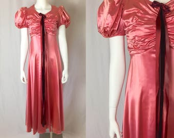 Xs/small ** 1930s PINK liquid satin gown ** vintage thirties balloon sleeve dress