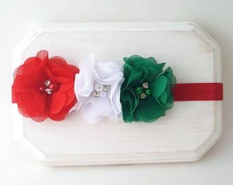 Red White & Green Holiday Headband - Italia Headband - Christmas Headband - Holiday Headband - Red Chiffon Bow - Newborn Headbands